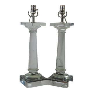 Original Restoration Hardware Crystal Column Pillar Lamps - a Pair For Sale