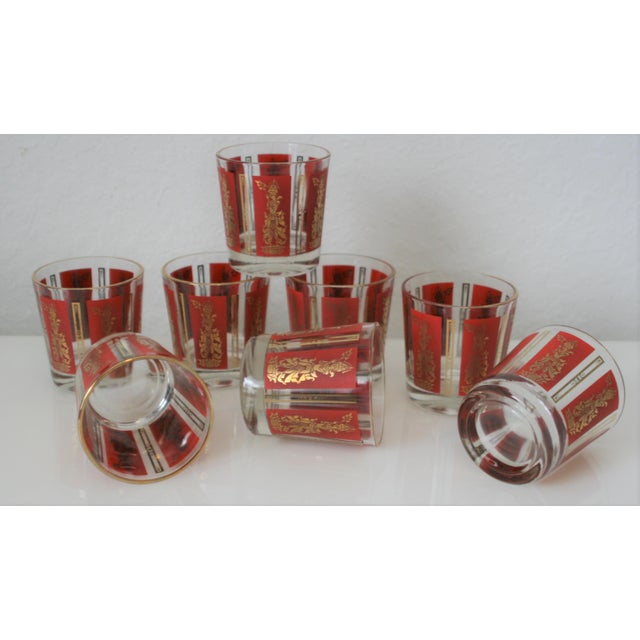 Mid-Century Red & Gold Mandalay Thai Goddess Rock Glasses - Set of 8 For Sale In West Palm - Image 6 of 7