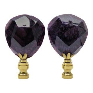 Semi-Precious Amethyst Gemstone Finials by C. Damien Fox, a Pair. For Sale