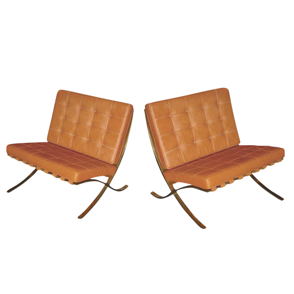 Mies Van Der Rohe For Knoll Vintage Brass Barcelona Chairs   A Pair