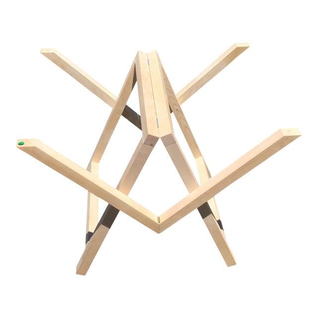 Modern Contemporary Designer Wood Trestle Table For Sale