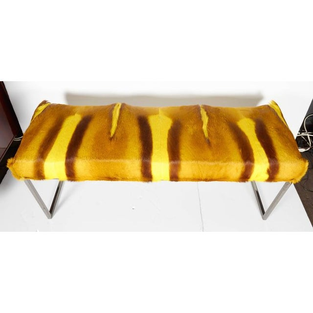Organic Modern African Springbok Fur Bench in Vibrant Yellow For Sale In New York - Image 6 of 9