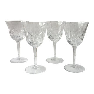 Vintage 1940s Cut Crystal Wine Glasses - Set of 4 For Sale