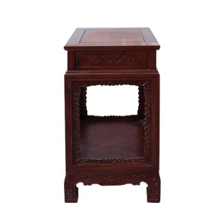 Chinese Akume Wood Brown Square Carving Plant Stand Pedestal Table For Sale