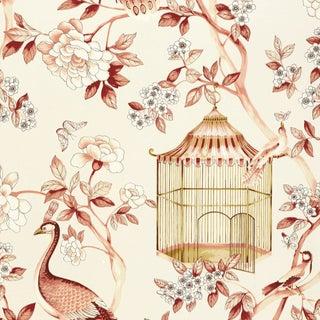 Schumacher Oiseaux Et Fleurs Wallpaper in Cinnabar For Sale