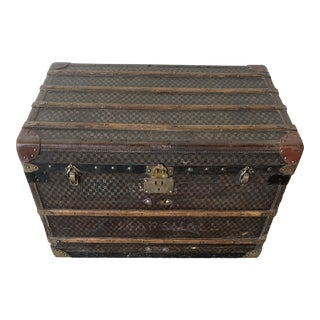 19th Leather Streamer Trunk For Sale