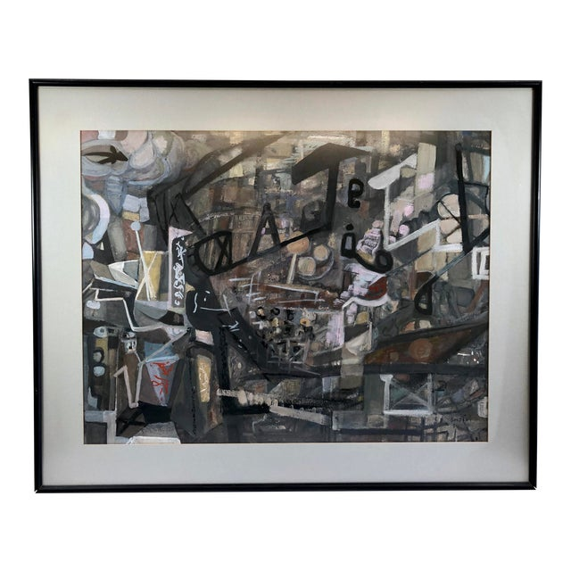 Late 20th Century Frances Soldini Framed Abstract Watercolor On Paper Computer Age Signed Painting