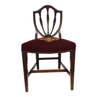 Vintage Mahogany Needlepoint American Traditional Chair For Sale