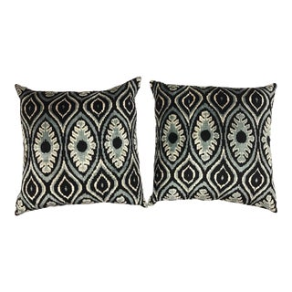 Pair of Large Black and Blue Silk Ikat Pillows For Sale