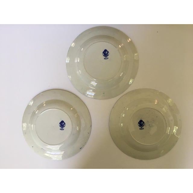 Antique Blue Rimmed Bowls in Breadalbane Pattern - Made in Cauldon, England - Set of Three For Sale - Image 6 of 12