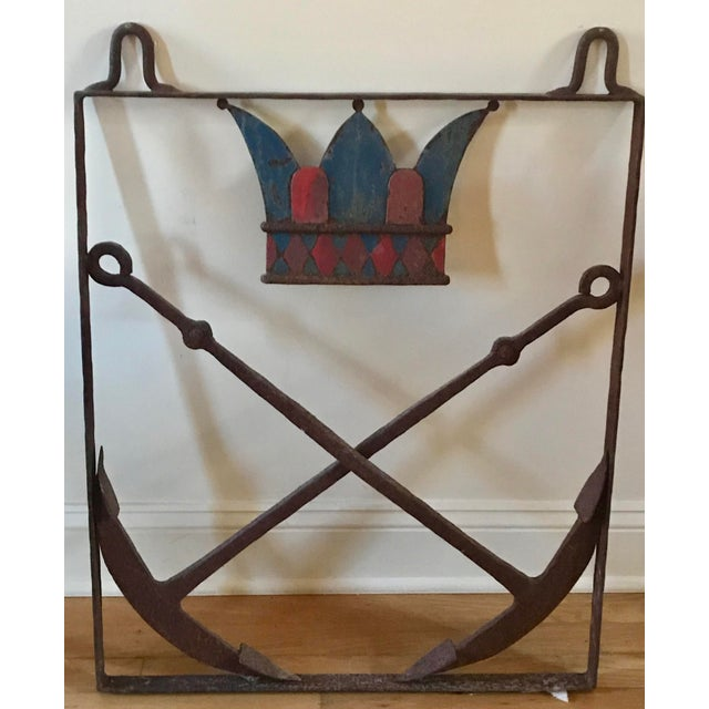 Antique American Nautical Cast Iron Trade Sign with duel anchors and crown, Early 19th Century.