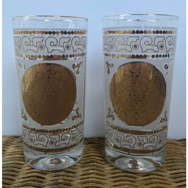 Boho Chic Mid 20th Century Hazel Atlas Frosted and Gilt Aztec Highball Cocktail Glasses - a Pair For Sale - Image 3 of 12