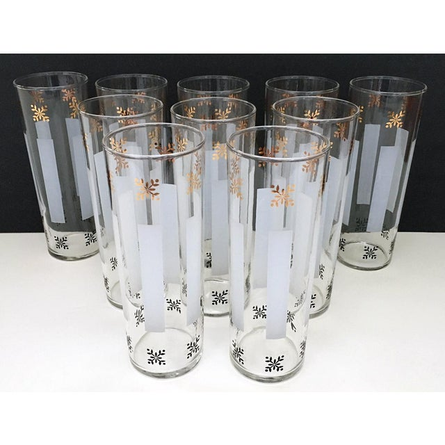 Mid-Century Modern 1950s Federal Style Gold Detailed Highball Glasses - Set of 10 For Sale - Image 3 of 6