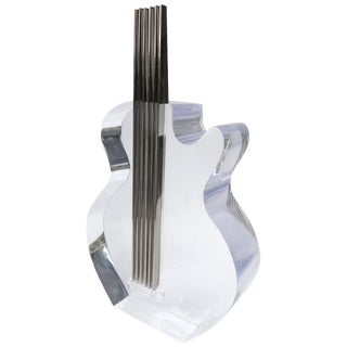 Custom Lucite and Stainless Steel Sculpture of a Guitar For Sale