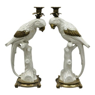Porcelain & Bronze French Style White Parrot Candle Holders-a Pair For Sale