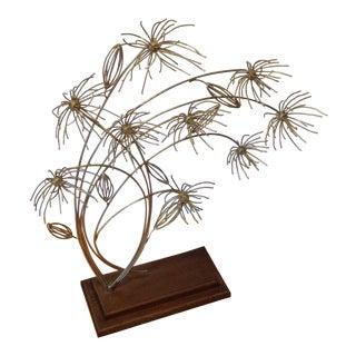 1980s Curtis Jere Desert Flower Sculpture on Wood Base For Sale