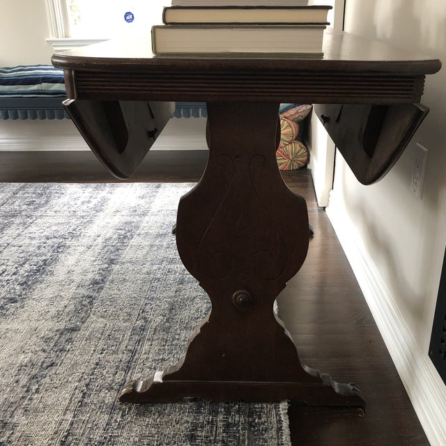 1940s Art Deco Drop Leaf Accent Table For Sale - Image 4 of 12