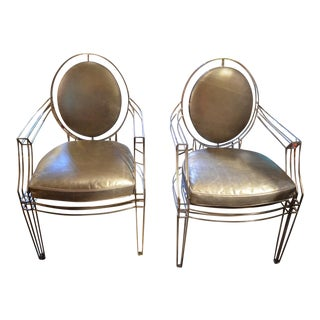 1940s Vintage Art Deco Platinum Metallic Leather Indoor/Outdoor Wire Chairs- A Pair For Sale