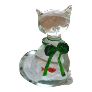 1970s Blown Glass Cat With Green Bow & Fish in Belly For Sale