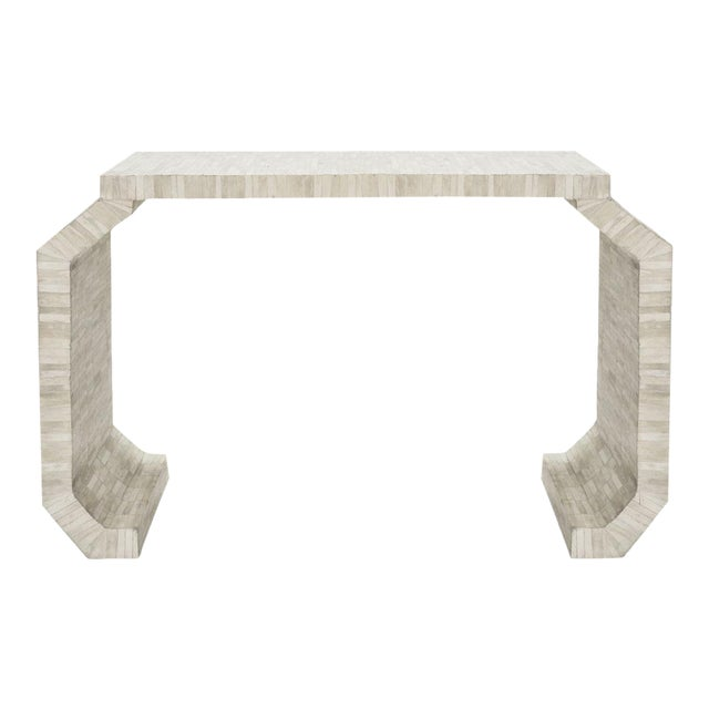 Natural Bone Console Table with faceted legs by Worlds Away For Sale