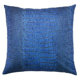 """Modern Blue Crocodile Patterned Velvet Pillow - 22x22"""" For Sale"""
