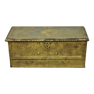Antique Brass Indian Gothic Mediterranean Dowry Trunk Storage Treasure Chest For Sale