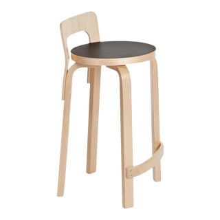 Authentic High Chair K65 in Birch with Linoleum Seat by Alvar Aalto & Artek For Sale