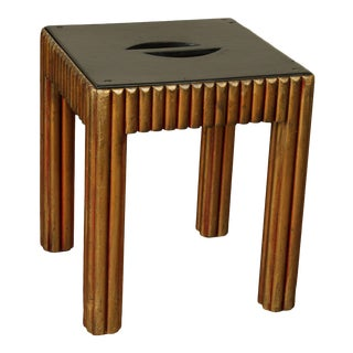 Vintage Art Deco Polychrome Painted Black and Gold Taboret Side Table For Sale