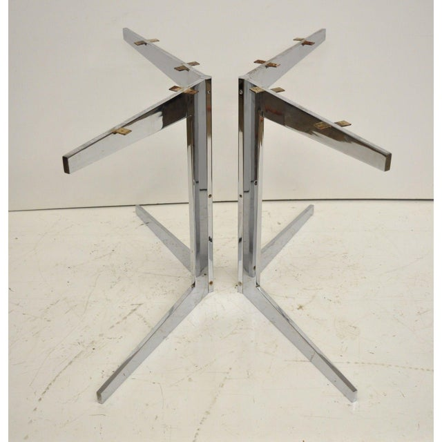 Florence Knoll Mid-Century Modern Chrome Steel Double Star Pedestal Dining Table Bases - a Pair For Sale - Image 4 of 13