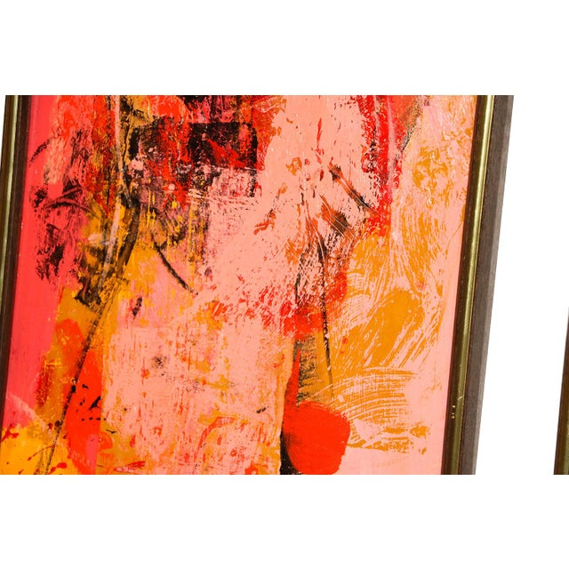 "Mid Century Abstract Expressionist Oil paintings signed ""Griffin"" - a Pair For Sale - Image 5 of 11"