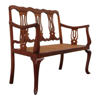 19th Century St.Croix Regency Mahogany and Cane Bench