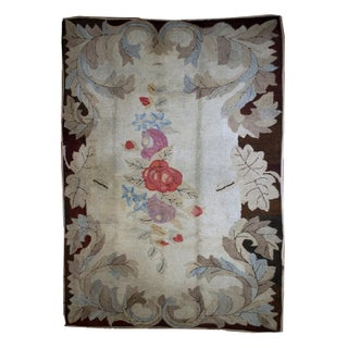 "1880s Antique American Hooked Rug- 5'10"" x 8'10"" For Sale"
