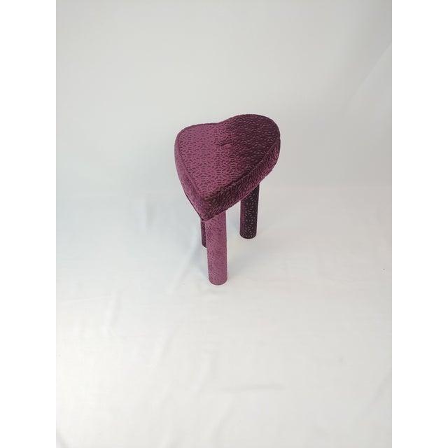 Textile Modern Aubergine Cut Velvet Heart Shape Vanity Chair For Sale - Image 7 of 7