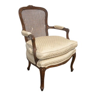 Vintage French Provincial Cane Arm Chair W Down Cushion Cabriole Legs For Sale