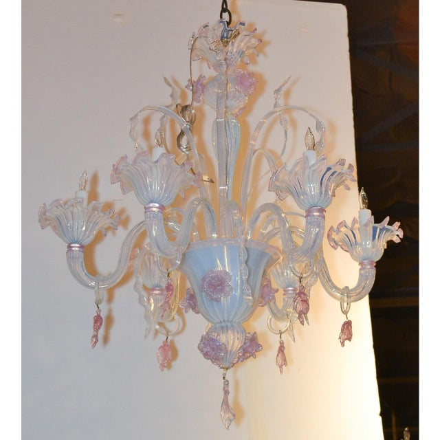 Italian Antique Murano Blown Glass Opalescent Chandelier For Sale - Image 3 of 9