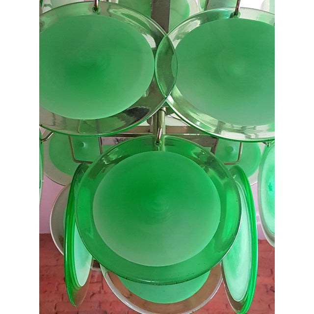 Vistosi Murano Mid-Century Modern Green Disc Murano Chandelier by Vistosi For Sale - Image 4 of 9