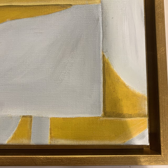Paint Custom Modern Abstract Yellow and White Painting from Houston Artist For Sale - Image 7 of 9