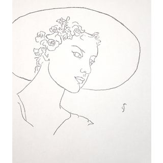 """""""Sun-Hat and Flowers"""" Minimalist Inspired Charcoal Drawing by Sarah Myers For Sale"""