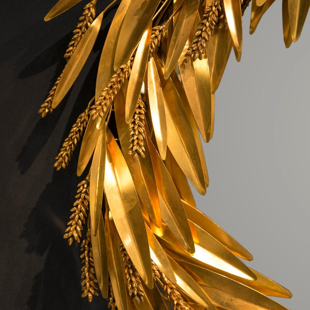 Modern Crown of Wheat Mirror in Bronze and Brass by Robert Goossens, Circa 1970 For Sale - Image 3 of 5