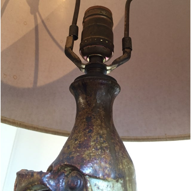 Vintage Mid Century Modern Handmade Clay Lamp For Sale - Image 5 of 10