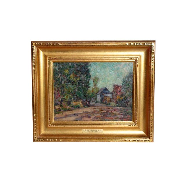 American Impressionistic Oil on Board by Roy Brown (American, 1879-1956) For Sale