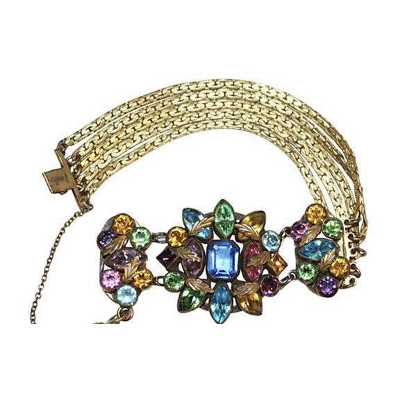 Czech Multicolor Faceted Stone Bracelet For Sale - Image 4 of 7