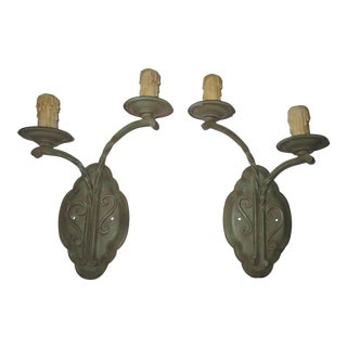 Wrought Iron Verdigris Arte De Mexico Wall Light Sconces - a Pair For Sale