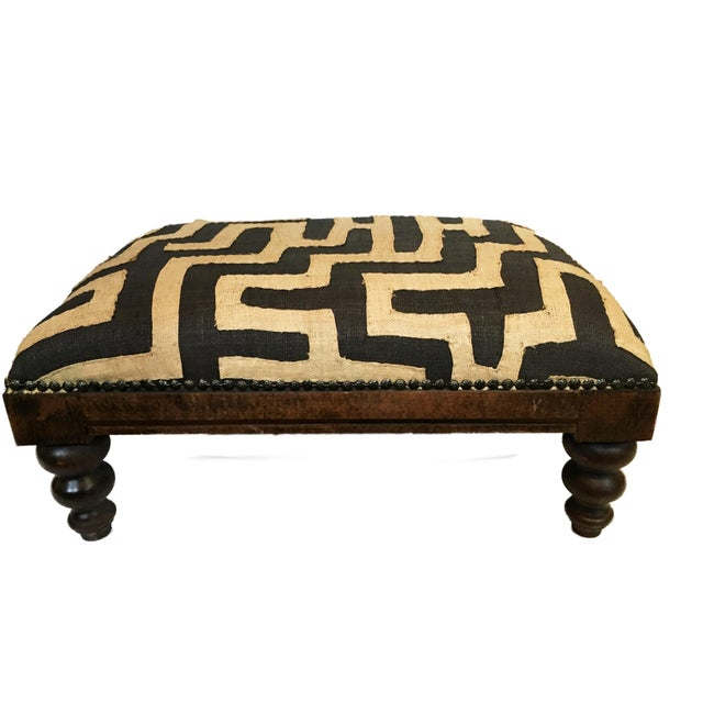 African African Kuba Applique Textile Low Stool For Sale - Image 3 of 9
