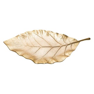 Oversized Gilded Leaf Tray For Sale