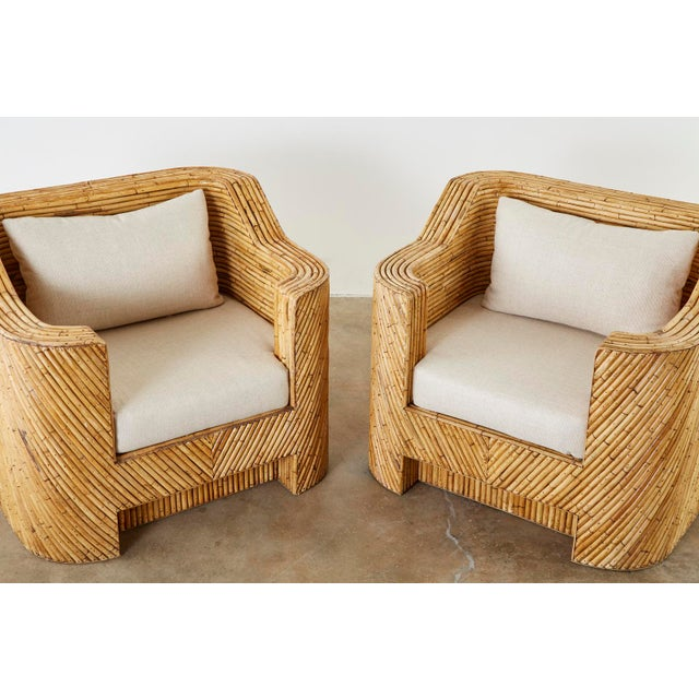 Contemporary Pair of Gabriella Crespi Inspired Bamboo Rattan Lounge Chairs and Ottoman For Sale - Image 3 of 13