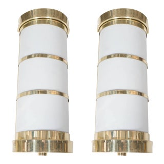 Cylindrical Wall Sconces in Frosted Acrylic and Brass - a Pair For Sale