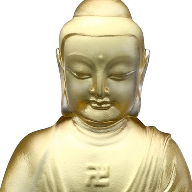 """Contemporary Crystal """"Present Mindfulness"""" Amitabha Buddha, Guardians of Peace, Gold For Sale - Image 3 of 4"""