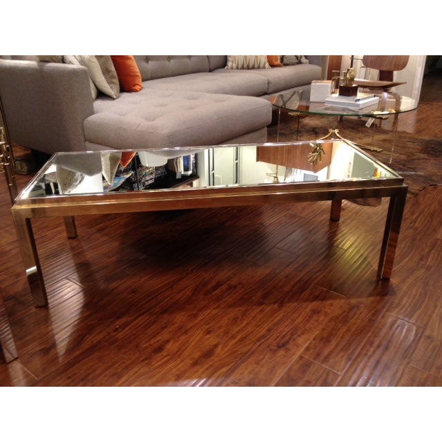 Vintage Antiqued Brass And Mirror Coffee Table