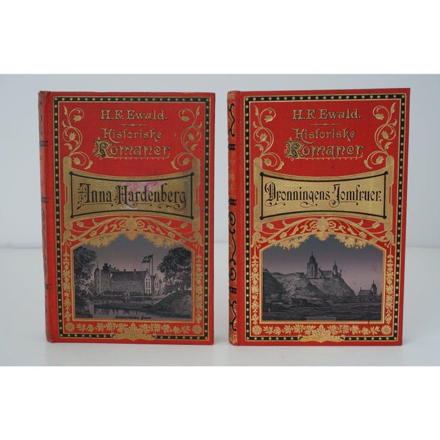 Late 19th Century Antique 19c Decorator Books - Red With Gold Embossing For Sale - Image 5 of 8